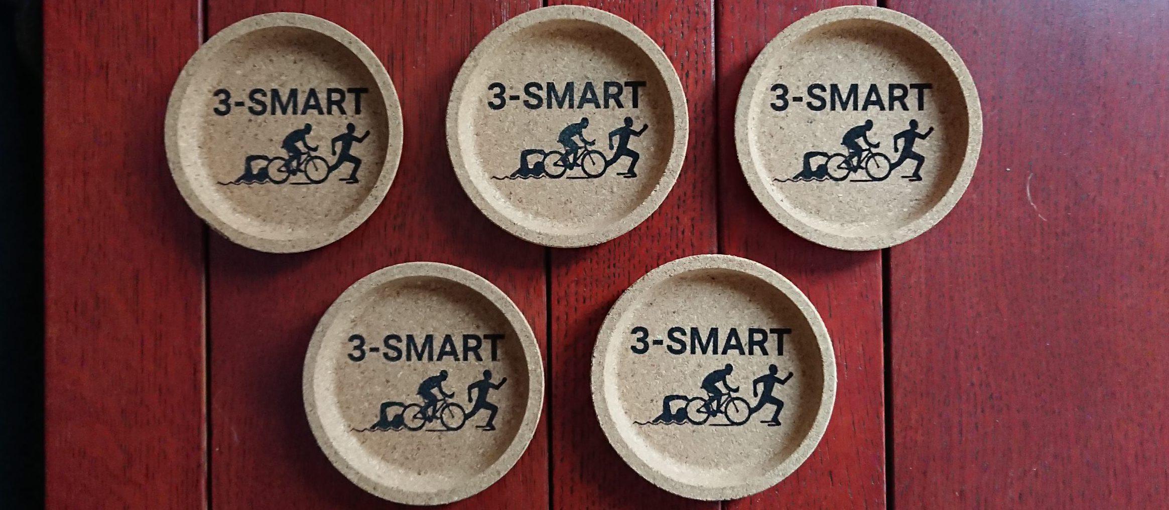 Onderzetters van kurk met 3-smart logo gegraveerd